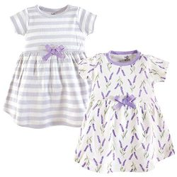 Touched by Nature Girls, Toddler, and Baby Organic Cotton Short-Sleeve Dresses, Lavender, 12-18  ...