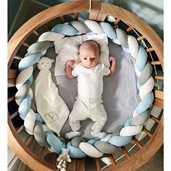 MOMAID Baby Braided Crib Bumper Knotted Plush Soft Nursery Toddler Crib Bedding Sets Decor Handm ...