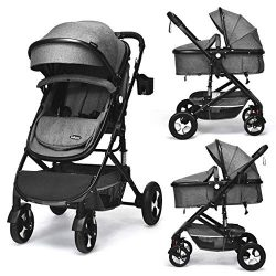 INFANS Baby Stroller for Newborn, 2 in 1 High Landscape Convertible Reversible Bassinet Pram for ...