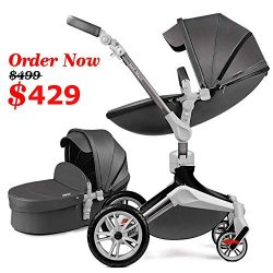 Baby Stroller 360 Rotation Function,Hot Mom Baby Carriage Pu Leather with Carrycot Pushchair Pra ...