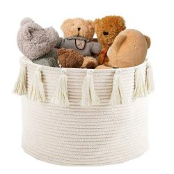 Abetree Large Tassel Woven Basket Storage with Handle Cotton Laundry Hamper Nursery Basket Blank ...
