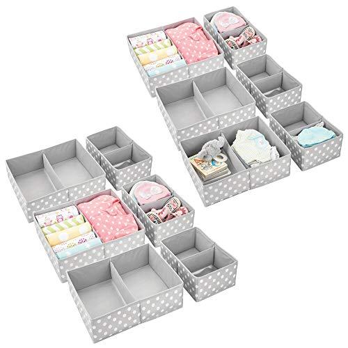 mDesign Soft Fabric Dresser Drawer and Closet Storage Organizer Set for Child/Kids Room, Nursery ...