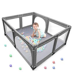 Baby Playpen, Extra Large Playard, Indoor & Outdoor Kids Activity Center with Anti-Slip Base ...