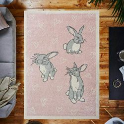 Fun Pale Baby Pink Bunny Rabbit Childrens Girls Playroom Bedroom Rug
