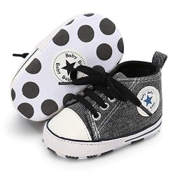 Baby Girls Boys Canvas Shoes Soft Sole Infant High-Top Ankle Sneakers Newborn Crib Shoes Toddler ...