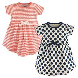Touched by Nature Girls, Toddler, and Baby Organic Cotton Short-Sleeve Dresses, Scribble Dot, 0- ...