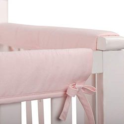 LOAOL Baby Crib Rail Cover Protector 3-Piece Padded Safe Teething Guard Crib Rails Wrap (Pink)