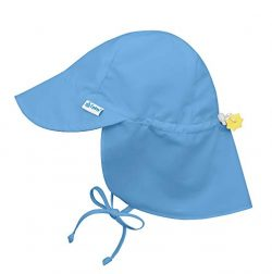 i play. by green sprouts baby-girls Upf 50+ Sun Protection Flap Hat,Light Blue,0 – 6 Months