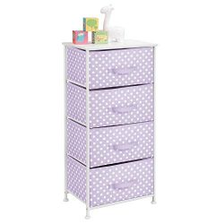 mDesign 4-Drawer Vertical Dresser Storage Tower – Sturdy Steel Frame, Wood Top and Easy Pu ...