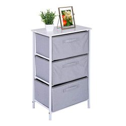 Vertical Dresser Storage Tower with 3 Drawers – Fabric Storage Tower,Sturdy Steel Frame, W ...