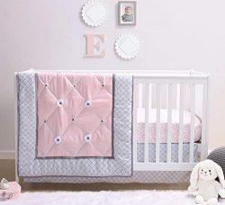 The Peanutshell Princess Crib Bedding Set for Baby Girls   3 Piece Pink and Grey Nursery Set   B ...