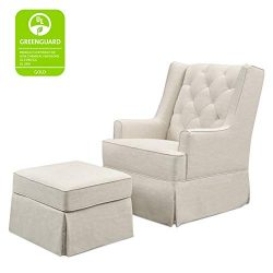 Million Dollar Baby Classic Sadie Swivel Glider with Storage Ottoman, White Linen