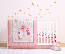 The Peanutshell Aflutter Crib Bedding Set | 3 Piece Floral Nursery Set | Baby Blanket, Crib Shee ...