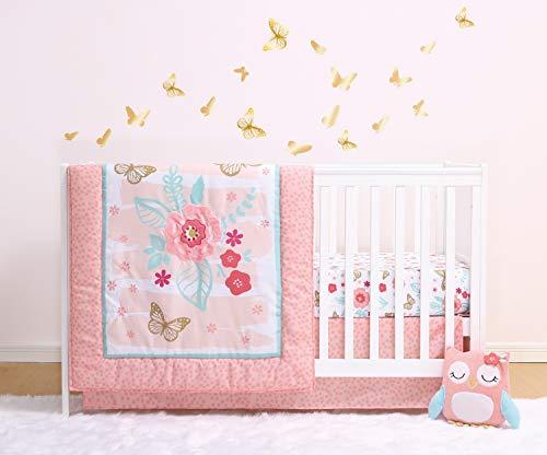The Peanutshell Aflutter Crib Bedding Set   3 Piece Floral Nursery Set   Baby Blanket, Crib Shee ...