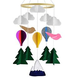 Nrpfell Handmade Baby Mobile Infant Toy Hanging Rotating Hot Air Balloons and Clouds Nursery Bed ...