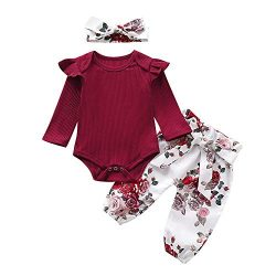 Newborn Infant Baby Girl Clothes Ruffle Romper Bodysuit Floral Halen Pants Headband Outfits 3PCS ...