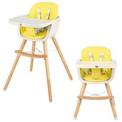 BABY JOY Convertible Baby High Chair, 3 in 1 Wooden Highchair/Booster/Chair with Removable Tray, ...
