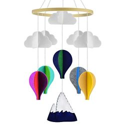 KATUMO Baby Crib Mobile, Handmade Baby Mobile Infant Toy Hanging Rotating Hot Air Balloons and C ...