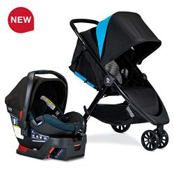 BRITAX B-Lively Travel System with B-Safe Ultra Infant Car Seat, Cool Flow Collection, Teal R ...
