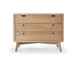 Simply Nursery Retro 3-Drawers Wood Chest | Hazelnut Finish | Modern Design