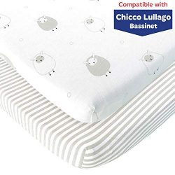 Bassinet Fitted Sheets Compatible with Chicco Lullago Bassinet and Chicco Close To You 3-in-1 Be ...