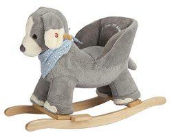 Rock My Baby Baby Rocking Horse Puppy with Chair, Plush stuffed Animal Dog Rocker, Wooden Rockin ...