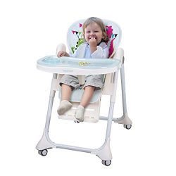 INCLAKE High Chair with Five-Point Seat Belt Foldable 7 Height Adjustable Waterproof PU Cushion  ...