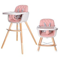 HAN-MM Baby High Chair with Removable Gray Tray, Wooden High Chair, Adjustable Legs, Harness, Fe ...