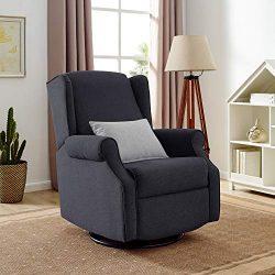 Classic Brands Expo Lovel Popstitch Upholstered Glider Swivel Rocker Chair, Charcoal