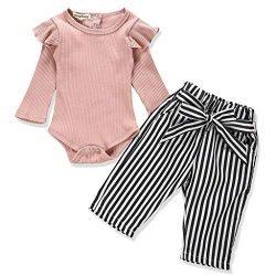 Newborn Baby Girl Clothes Solid Color Romper + Stripe Pants 2PCS Winter Outfit Set 0-3 Months