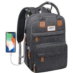 Diaper Bag Backpack, Hobest Multifunctional Travel Back Pack with Built-in USB Charging Port,Lar ...