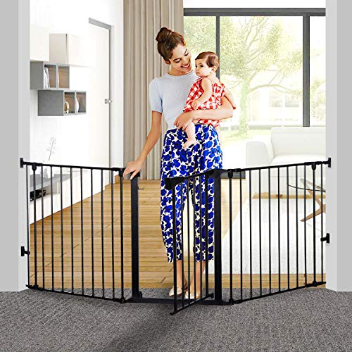 KingSo 80 inch Auto Close Baby Gate Super Wide Safety Gate Foldable Extra Wide 25-80 inch Walk T ...