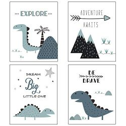Nursery Decor and Baby Room Decor for Baby Nursery – Dinosaur and Mountain Themed Woodland ...