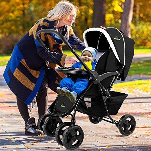 Two-Way Baby Stroller with Oriented Front Wheel and Lockable Rear Wheel, 2 in 1 Compact Folding  ...