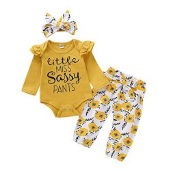 Newborn Girl Outfits Ruffle Long Sleeve Tops + Floral Pants Sets 3 6 Months Baby Girl Clothes Ba ...