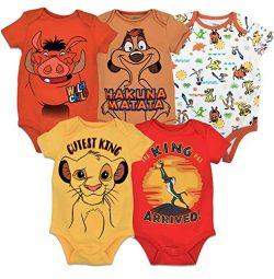 Disney Lion King Baby Boys' 5 Pack Bodysuits Simba Timon Pumbaa, 3-6 Months