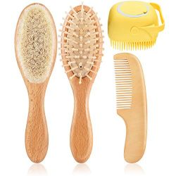Baby Hair Brush Comb Set,4 Piece Natural Wooden Baby Brush Comb with Soft Goat Bristles for Crad ...