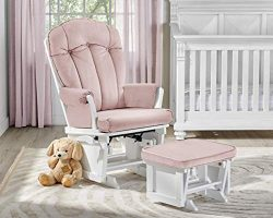 Suite Bebe Victoria Glider and Ottoman in Pink and White
