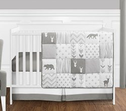 Grey and White Woodsy Deer Boy, Girl, Unisex Baby Crib Bedding Set by Sweet Jojo Designs – ...