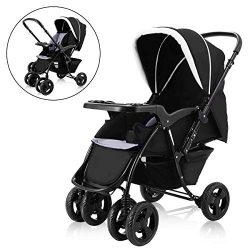 Costzon Infant Stroller Two Way Foldable Baby Toddler Pushchair w/Storage Basket (Black)