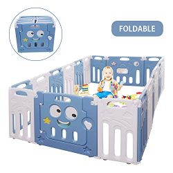 Moromuu Foldable Baby Playpen, 18 Panel, Kids Safety Play Yard with Activity Wall and Lock Gate, ...