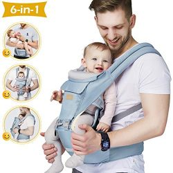 Baby – Carrier, 6-in-1 Baby Carrier with Waist Stool-, FRUITEAM Baby Carrier with Hip Seat ...