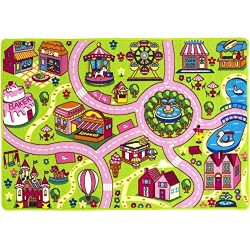 Mybecca Kids Rug 5′ x 7′ Colourful Fun Land Theme Park Roads Floor Play Children Are ...